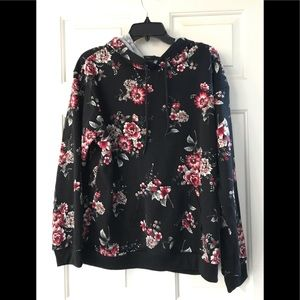 NEW Bebop Black Floral Print Hoodie Sweater XL